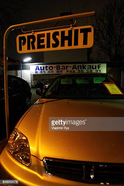 Honda car sits in a parking place in a secondhand car dealer lot on February 4 2009 in Cologne Germany Germany western Europe's largest auto market...