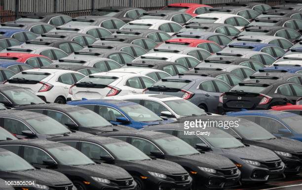 Honda cars built in the Swindon Honda plant wait to be exported from Southampton Docks on November 20 2018 in Southampton England As the date for the...