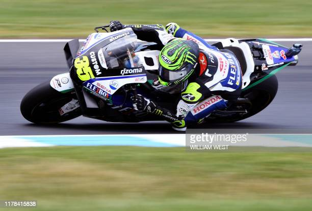 Honda Castrol rider Cal Crutchlow of Britain speeds to second place in the MotoGP Australian motorcycle Grand Prix at Phillip Island on October 27,...