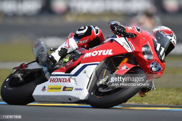 Honda CBR 1000 RR Formula EWC French rider n°111 Randy De Puniet competes to clock the best time during a qualifying session ahead of the 42nd Le...