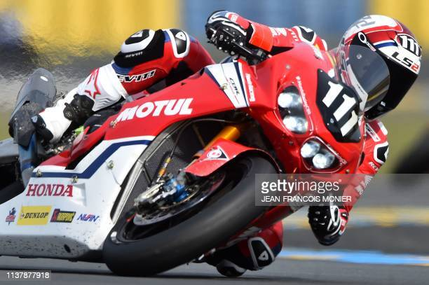 TOPSHOT Honda CBR 1000 RR Formula EWC French rider n°111 Randy De Puniet competes to clock the best time during a qualifying session ahead of the...