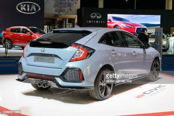 Honda Civic 5door hatchback on display at Brussels Expo on January 13 2017 in Brussels Belgium The Honda Civic of the tenth generations is available...