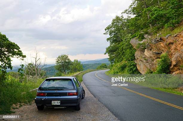 wet day on the blue ridge parkway - honda civic stock pictures, royalty-free photos & images