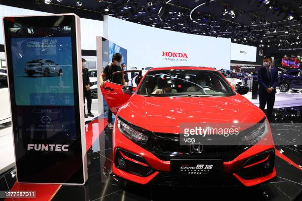 Honda Civic sedan is on display during 2020 Beijing International Automotive Exhibition at China International Exhibition Center on September 27,...