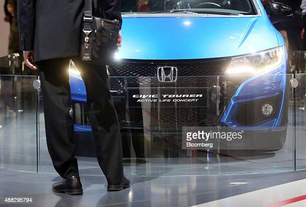 A Honda Civic Tourer Active Life Concept automobile produced by Honda Motor Co sits on display at the IAA Frankfurt Motor Show in Frankfurt Germany...