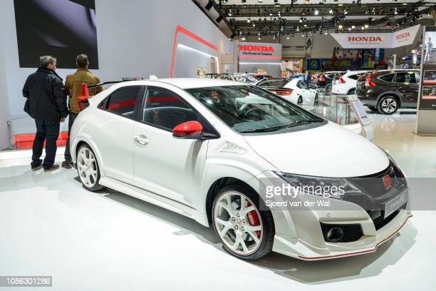 Honda Civic Type R 5door performance hatchback on display at Brussels Expo on January 13 2017 in Brussels Belgium The TypeR is fitted with a 20 litre...
