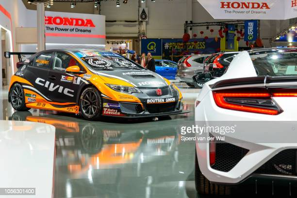 Honda Civic Type R racecar performance hatchback on display at Brussels Expo on January 13 2017 in Brussels Belgium The TypeR is fitted with a 20...