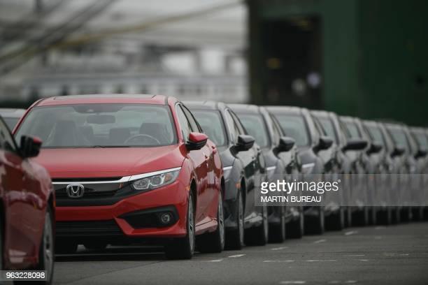 Honda Civic vehicles are seen parked at the Daikoku pier in Yokohama, Kanagawa prefecture on May 28, 2018.
