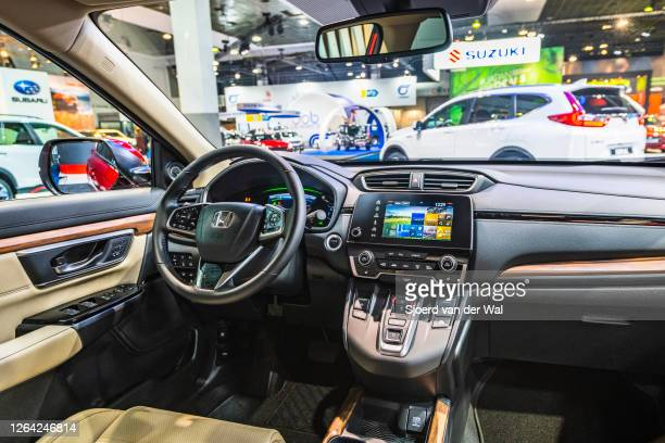 Honda CR-V compact crossover SUV interior on display at Brussels Expo on January 9, 2020 in Brussels, Belgium. The Fifth generation CR-V or Honda...