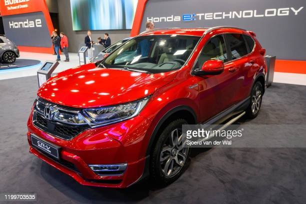 Honda CR-V compact crossover SUV on display at Brussels Expo on January 9, 2020 in Brussels, Belgium. The Fifth generation CR-V or Honda Breeze in...