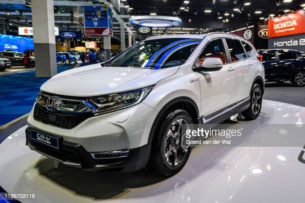 Honda CR-V Hybrid compact crossover SUV on display at Brussels Expo on January 9, 2020 in Brussels, Belgium. The Fifth generation CR-V or Honda...