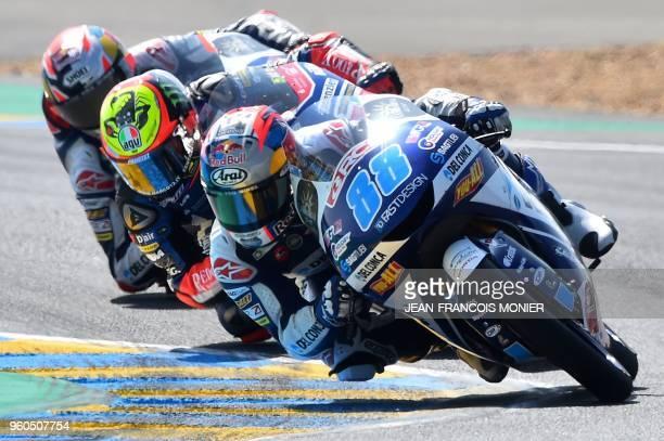 Honda Del Conca Gresini Moto3 Spanish rider Jorge Martin KTM Pruestel GP Italian rider Marco Bezzecchi and Honda Del Conca Gresini Moto3 Italian...