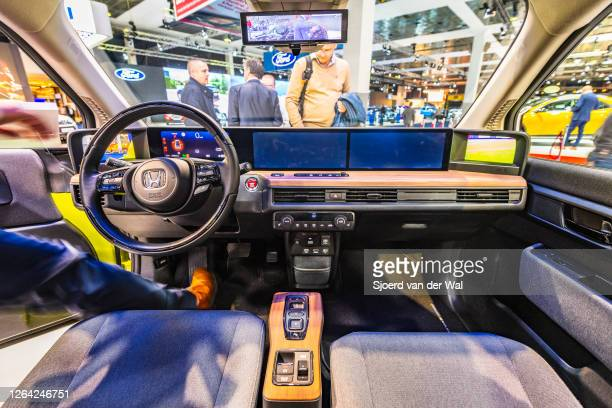 Honda e all electric compact car interior on display at Brussels Expo on January 9, 2020 in Brussels, Belgium. The Honda e is fitted with an...