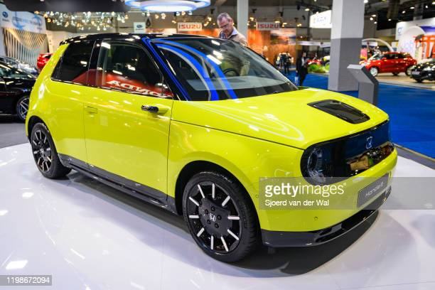 Honda e all electric compact car on display at Brussels Expo on JANUARY 09, 2020 in Brussels, Belgium. The Honda e is based on the Urban EV Concept...