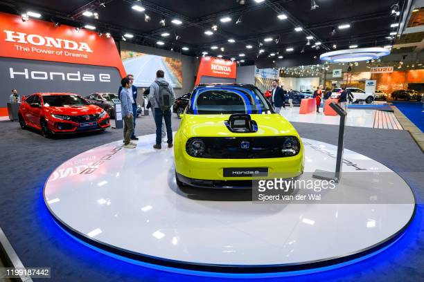 Honda e all electric compact car on display the Honda motor show stand at Brussels Expo on January 9, 2020 in Brussels, Belgium. The Honda e is based...