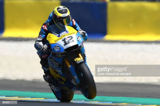 Honda EG0 0Marc VDS Swiss' rider Tom Luthi rides during a MotoGP free practice session ahead of the French Motorcycle Grand Prix on May 18 2018 in Le...