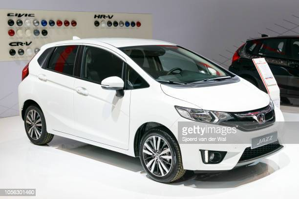 Honda Jazz compact MPV on display at Brussels Expo on January 13 2017 in Brussels Belgium The third generation of the Honda Jazz is available with...