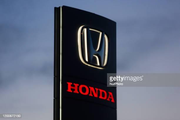 Honda logo is seen near the car showroom in Krakow, Poland on February, 12 2020.