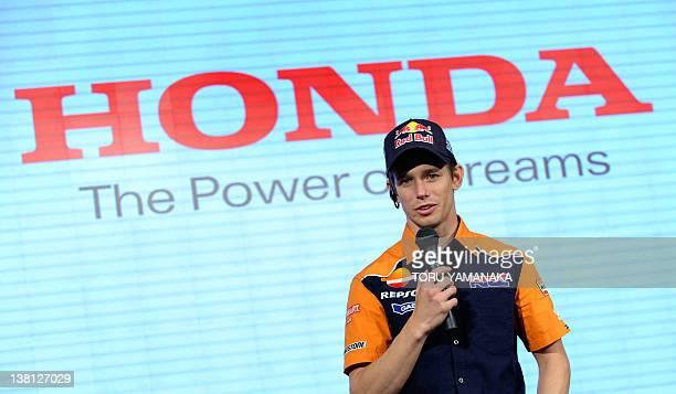 Honda MotoGP rider Casey Stoner of Australia makes a speech during a press conference to introduce motor sport activities by Japan's auto maker Honda...
