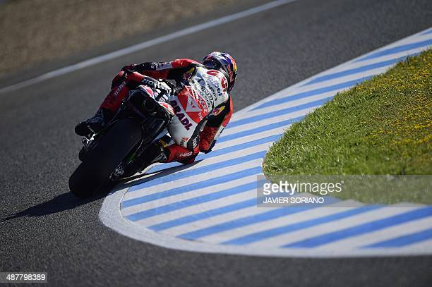 LCR Honda MotoGP's German rider Stephan Bradl takes part in the first MotoGP free practice session of the Spanish Grand Prix at the Jerez racetrack...