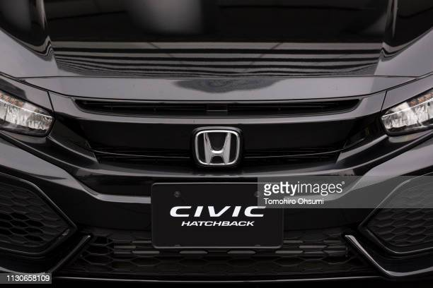 Honda Motor Co Civic Hatchback vehicle is displayed outside the company's headquarters on February 19 2019 in Tokyo Japan Honda announced on Tuesday...