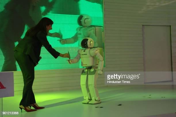 Honda Motor Co Ltd's Asimo robot makes a presentation at the ninth Auto Expo on January 10 2008 in New Delhi India
