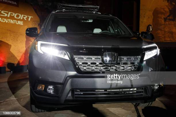 Honda Motor Co. Passport sport utility vehicle sits on display during a reveal event in Los Angeles, California, U.S., on Tuesday, Nov. 27, 2018. The...