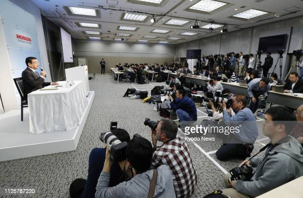 Honda Motor Co President and CEO Takahiro Hachigo speaks at a press conference in Tokyo on Feb 19 about the closure in 2021 of its Swindon car plant...