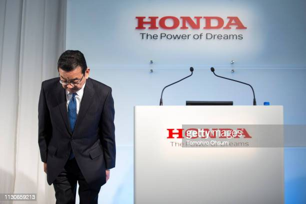 Honda Motor Co President Takahiro Hachigo bows as he arrives for a press conference on February 19 2019 in Tokyo Japan Honda announced on Tuesday the...