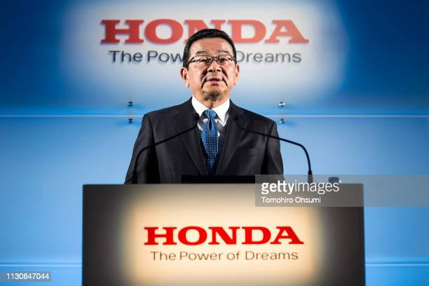 Honda Motor Co President Takahiro Hachigo speaks during a press conference on February 19 2019 in Tokyo Japan Honda announced on Tuesday the company...
