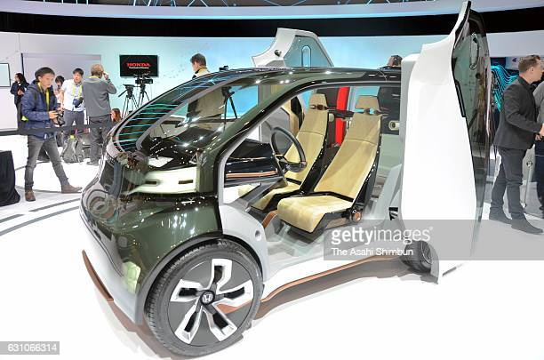 Honda Motor Co's cancept car 'NeuV' is displayed at the CES 2017 at the Las Vegas Convention Center on January 5 2017 in Las Vegas Nevada CES the...