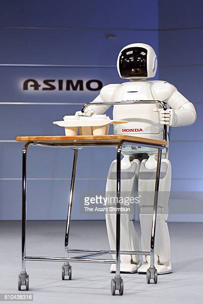 Honda Motor Co's humanoid robot ASIMO is seen during a press conference at teh company headquarters on December 13 2005 in Tokyo Japan
