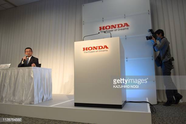 Honda Motor president Takahiro Hachigo answers questions during a press conference in Tokyo on February 19 2019 Japanese car giant Honda said on...