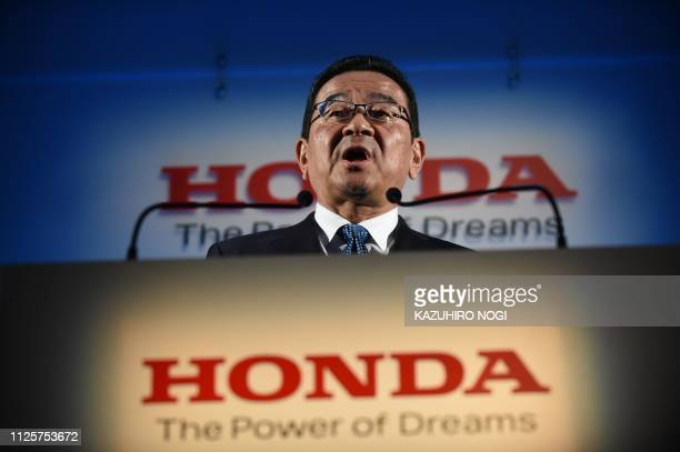 Honda Motor president Takahiro Hachigo speaks during a press conference in Tokyo on February 19 2019 Japanese car giant Honda said on February 19 it...