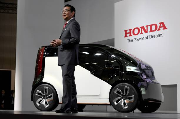 Honda Motors President Takahiro Hachigo Introduces NeuV EV Concept City Commuter Car At The