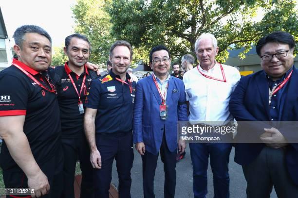 Honda Motorsports General Manager Masashi Yamamoto Operating Officer of Honda F1 Katsuhide Moriyama Red Bull Racing Team Principal Christian Horner...