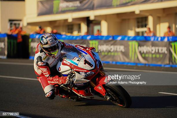 Honda rider John McGuiness on race pace during an evening practice at The Isle of Man TT Races on June 01 2016 in Douglas Isle of Man