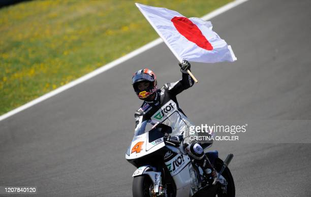 Honda Scot's Japanese Hiroshi Aoyama celebrates after winning the 250 cc race of the Spanish Grand Prix at the Jerez racetrack on May 3 2009 in Jerez...