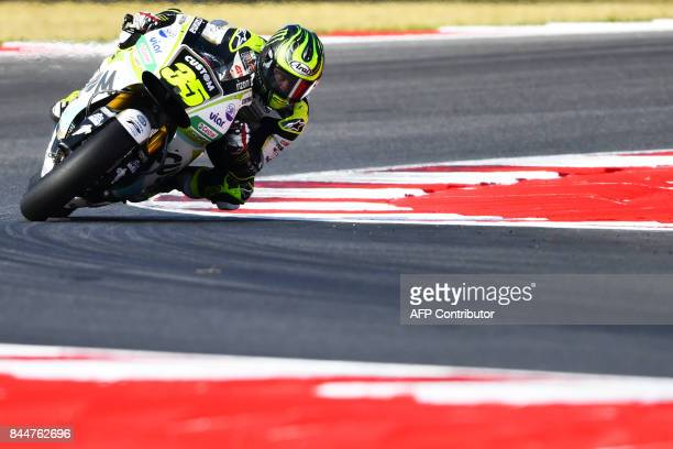 Honda team's rider Cal Crutchlow from England takes part in a practice session of the San Marino Moto GP Grand Prix race at the Marco Simoncelli...