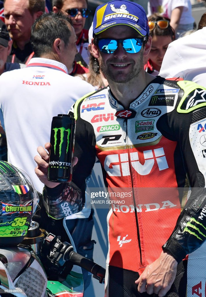 LCR Honda's British rider Cal Crutchlow celebrates being first placed during the MotoGP qualifying session of the Spanish Grand Prix at the Jerez racetrack in Jerez de la Frontera on May 5, 2018.