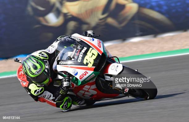 LCR Honda's British rider Cal Crutchlow rides during the first MotoGP free practice session of the Spanish Grand Prix at the Jerez racetrack in Jerez...