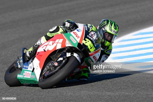 Honda's British rider Cal Crutchlow takes part in the third MotoGP free practice session of the Spanish Grand Prix at the Jerez racetrack in Jerez de...