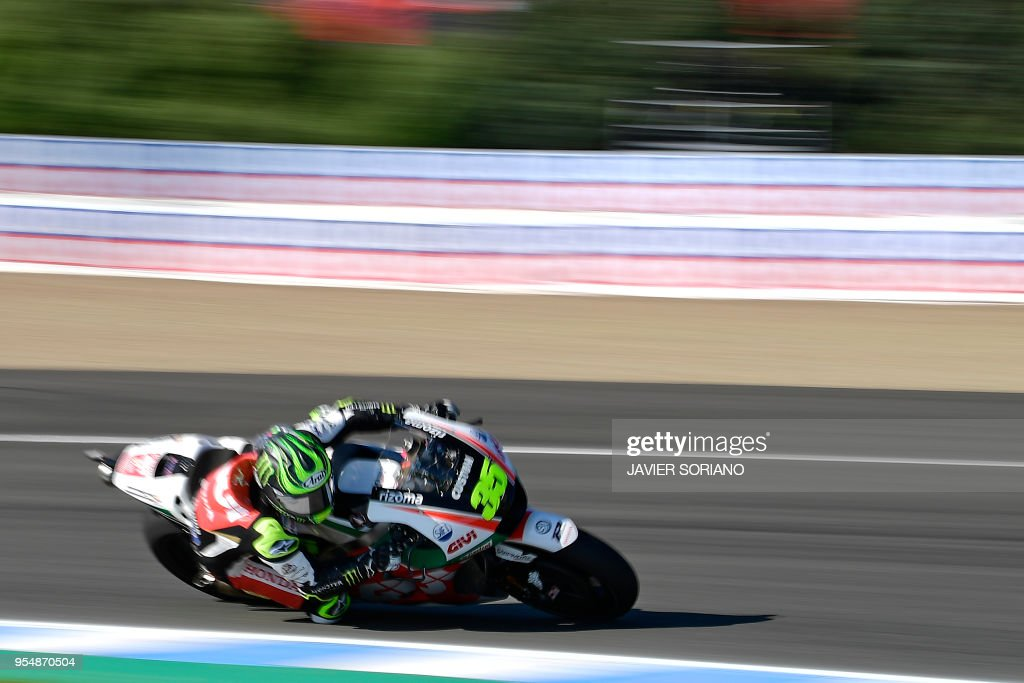 LCR Honda's British rider Cal Crutchlow takes part in the third MotoGP free practice session of the Spanish Grand Prix at the Jerez racetrack in Jerez de la Frontera on May 5, 2018.