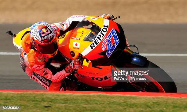 Honda's Casey Stoner from Australia during the MotoGP free practice 3 during the 2011 Airasia British Moto GP Qualifying Day at Silverstone Circuit...