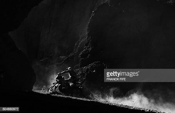 Honda's French biker Adrien Metge competes during Stage 8 of the Dakar 2016 between Salta and Belen Argentina on January 11 2016AFP PHOTO / FRANCK...
