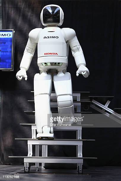 Honda's humanoid robot ASIMO appears during the FIRST Championships at the America's Center on April 28 2011 in St Louis Missouri