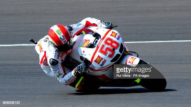 Honda's Marco Simoncelli of Italy during MotoGP free practice 3 during the 2011 Airasia British Moto GP Qualifying Day at Silverstone Circuit...