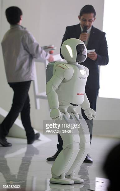 Honda's robot 'Ashimo' shows its skills at Auto Expo 2016, in Greater Noida some 45kms east of New Delhi on February 4, 2016. India's flagship auto...
