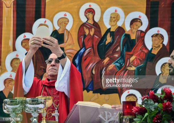 Honduran cardinal Oscar Andres Rodriguez celebrates Palm Sunday mass in Tegucigalpa on April 14 2019 For Christians Palm Sunday marks the beginning...