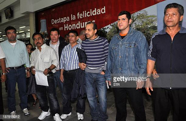 Honduran crew members of the Costa Concordia are received by their families in Ramon Villeda Morales Airport in San Pedro Sula 240 kms to the north...
